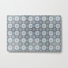 Portuguese Tile Motif Pattern Decorative Metal Print