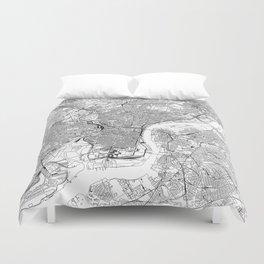 Philadelphia White Map Duvet Cover