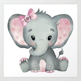 Cute Baby Elephant Art Print