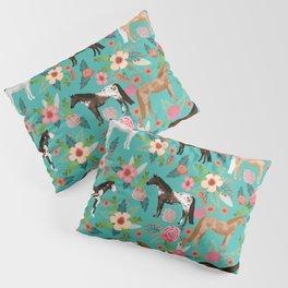 Horses floral horse breeds farm animal pets Pillow Sham