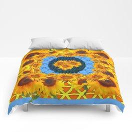DECORATIVE  BABY BLUE ART & YELLOW SUNFLOWERS Comforters