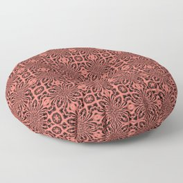 Peach Echo Geometric Floral Abstract Floor Pillow