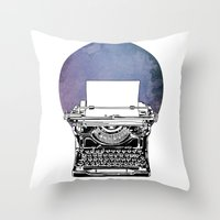 typewriter Throw Pillows featuring Typewriter by Rebecca Joy - Joy Art and Design