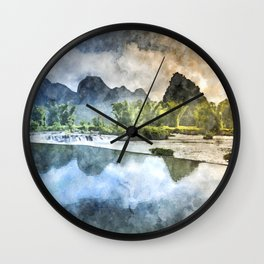 Nature Mountains River  Wall Clock