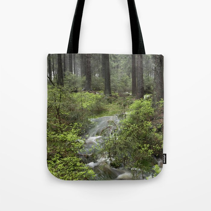Mountains, forest, water. Tote Bag