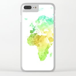 World Map Watercolor #5 Clear iPhone Case