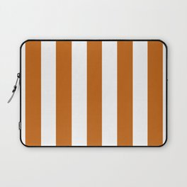 Alloy orange - solid color - white vertical lines pattern Laptop Sleeve