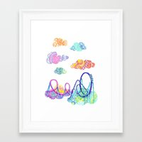 coasters Framed Art Prints featuring We'll see you in style, riding rainbow roller-coasters in the sky. by Jenny Robins
