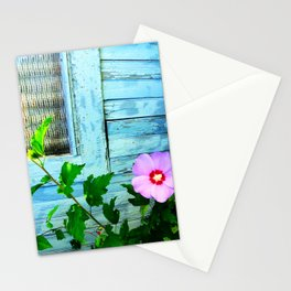 Country Blue Barn Wood Flag Stationery Cards