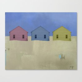 Beach Cottages, colorful houses, coastal, row houses Canvas Print