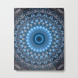 Digital mandala with light blue dominant. Metal Print