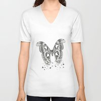 atlas V-neck T-shirts featuring Atlas Moth by Anya Raczka