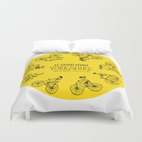 tour de france Duvet Covers featuring Yorkshire Tour de France Grand Départ III by Holly Fisher@SpenceCreative