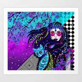 Girl and blue cat Art Print