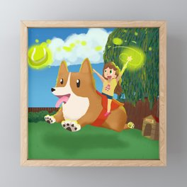 Play fetch Framed Mini Art Print