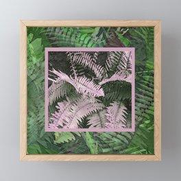 Pink and Green Ferns Framed Mini Art Print