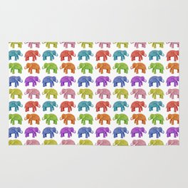 Colorful Parade of Elephants in Red, Orange, Yellow, Green, Blue, Purple and Pink Rug