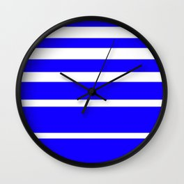 Blue and White Graduated Stripes Wall Clock