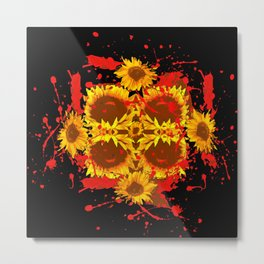 """SUNFLOWERS HAVING BLOODY GOOD TIME"" Metal Print"