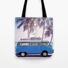 Retro Van On Beach Tote Bag