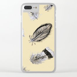 Creamy feathers Clear iPhone Case