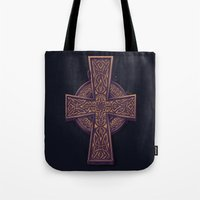 celtic Tote Bags featuring Celtic Cross by pakowacz