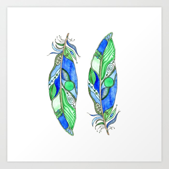 Bohemian Spirit Feathers - Blue & Green Art Print