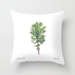 Red Russian Kale Throw Pillow