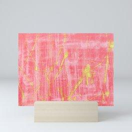 Lime Green Splatter on Pink Abstract Mini Art Print