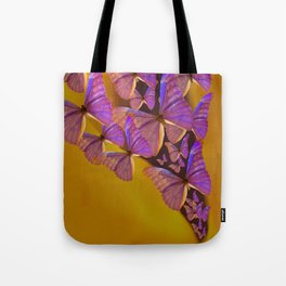 Shiny Purple Butterflies On A Ocher Color Background #decor #society6 Tote Bag