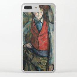 Boy in a Red Waistcoat by Paul Cézanne Clear iPhone Case