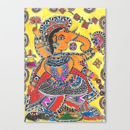 Madhubani - YellowGanesh Canvas Print