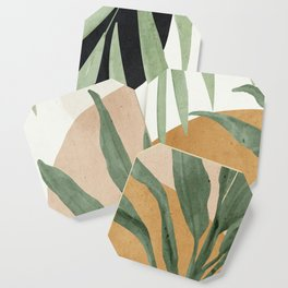 Abstract Art Tropical Leaves 4 Coaster