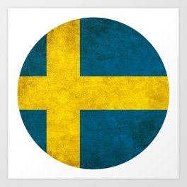 Sweden flag, circle Art Print