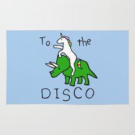 To The Disco (Unicorn Riding Triceratops) Rug
