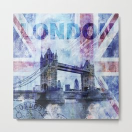 London Tower Bridge mixed media Art and Typography Metal Print