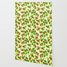 Cranberry Fruit Pattern on Green Wallpaper