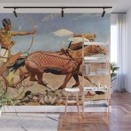 """Classical Masterpiece """"Egyptian King Tut on Chariot"""" by Herbert Herget Wall Mural"""