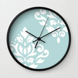 Scoll Damask Art I White on Duck Egg Blue Wall Clock