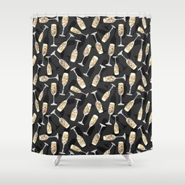 Sparkling Bubbly Flutes Shower Curtain