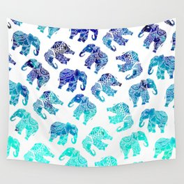 Boho turquoise blue ombre watercolor hand drawn mandala elephants pattern Wall Tapestry
