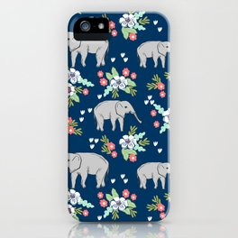 Elephants pattern navy blue with florals cute nursery baby animals lucky gifts iPhone Case