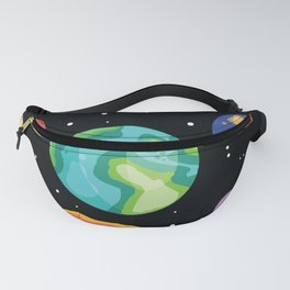 Colofrul planets stars and satellites on a starry sky space seamless pattern Fanny Pack