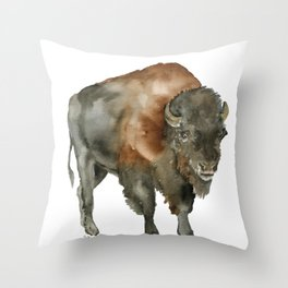 American Bison 2 Watercolor Painting Throw Pillow