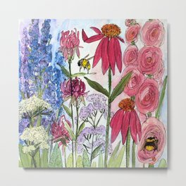 Watercolor Acrylic Cottage Garden Flowers Metal Print