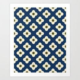 Retro Floral Pattern Scandinavian Art Print