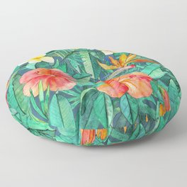 Classic Tropical Garden Floor Pillow