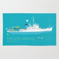 the life aquatic Area & Throw Rugs featuring The Life Aquatic with Steve Zissou by steeeeee