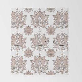 Lotus Mandala Doodle Pink Marble Pattern Throw Blanket