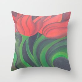 Red Tulip Diptych Throw Pillow